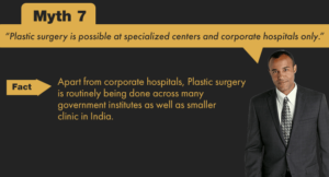 Plastic surgery is done in government hospitals and smaller clinics in India